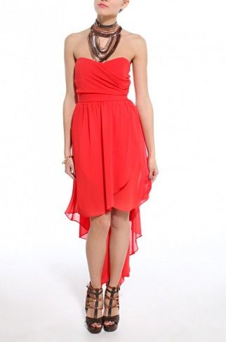 Draped Bust Tail Back Dress in Red
