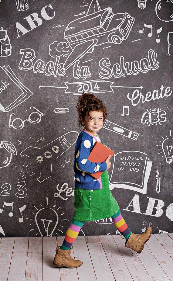 Back to School Chalkboard Photo Backdrop // PolyPaper Photography Backdrop // SIZES: 5'x5', 5'x6', 5'x7', 5'x8' #backtoschool