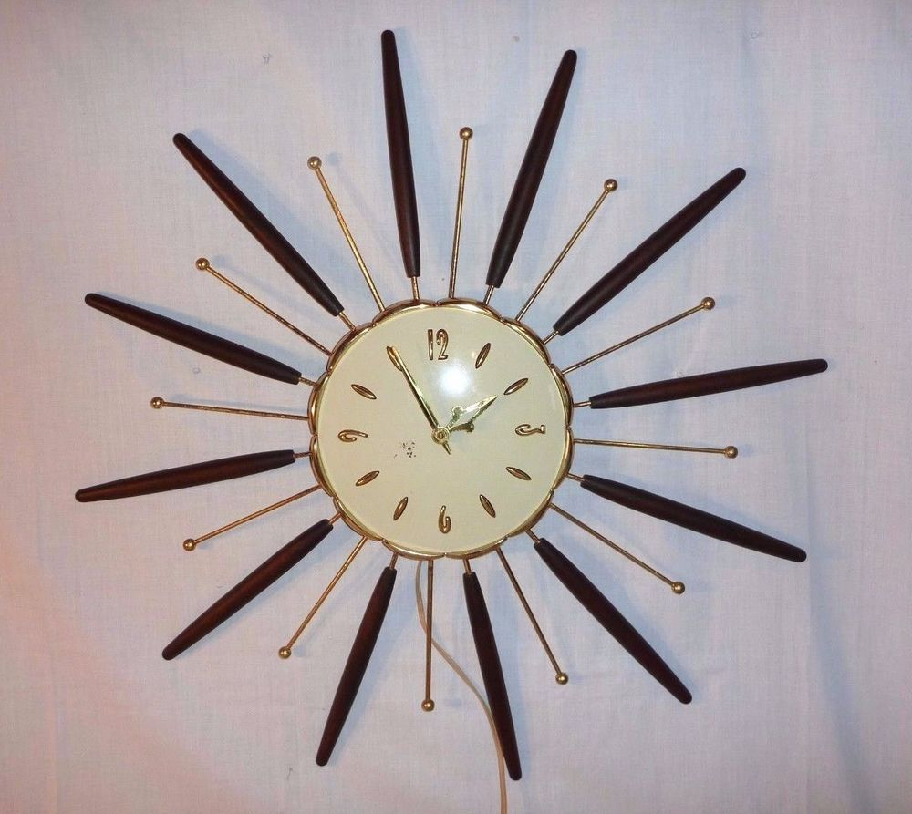 large vintage welby wall clock  mid century modern design  - vintage  mid century starburst robert shaw lux electric wall clock