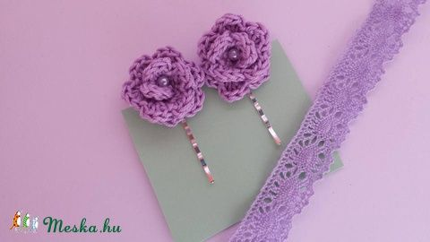Orgona-rózsa- Horgolt rózsák hullámcsaton, Ékszer, óra, Ruha, divat, cipő, Hajbavaló, Hajcsat, Horgolás, Meska
