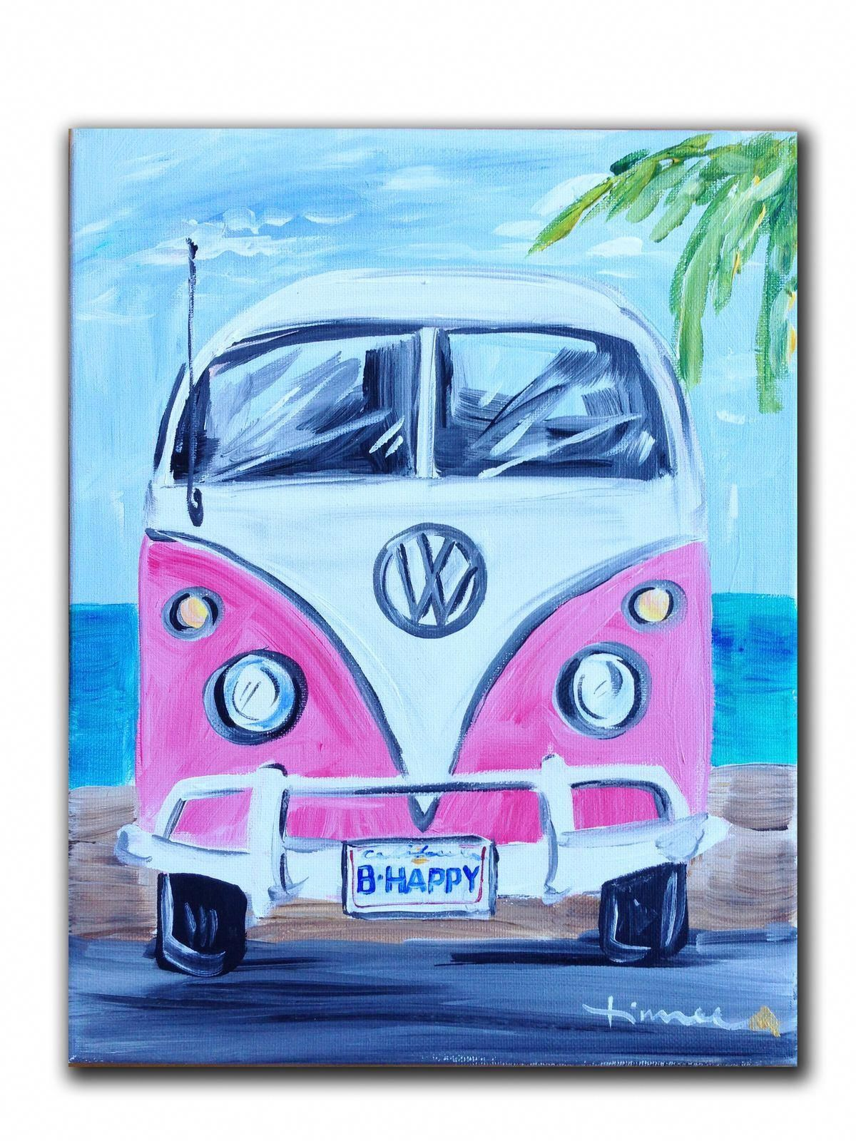 Vw Inspiration Art Get That Lisence Buy A Van Make It Mine Buyartartworks Hippie Painting Cute Canvas Paintings Cute Paintings