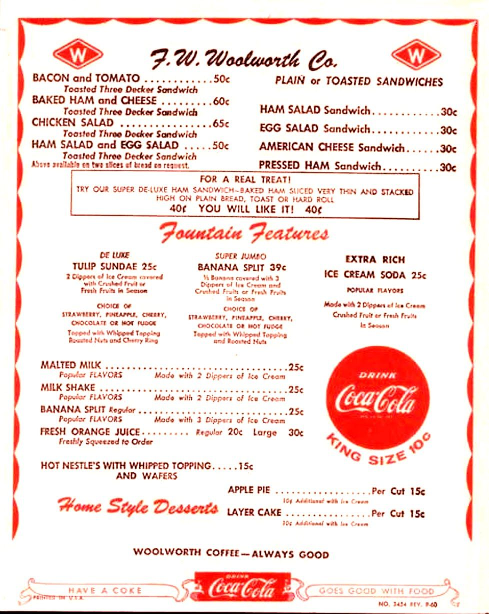 Woolworth Lunch Counter Menu | Woolworths Lunch Counter Menu