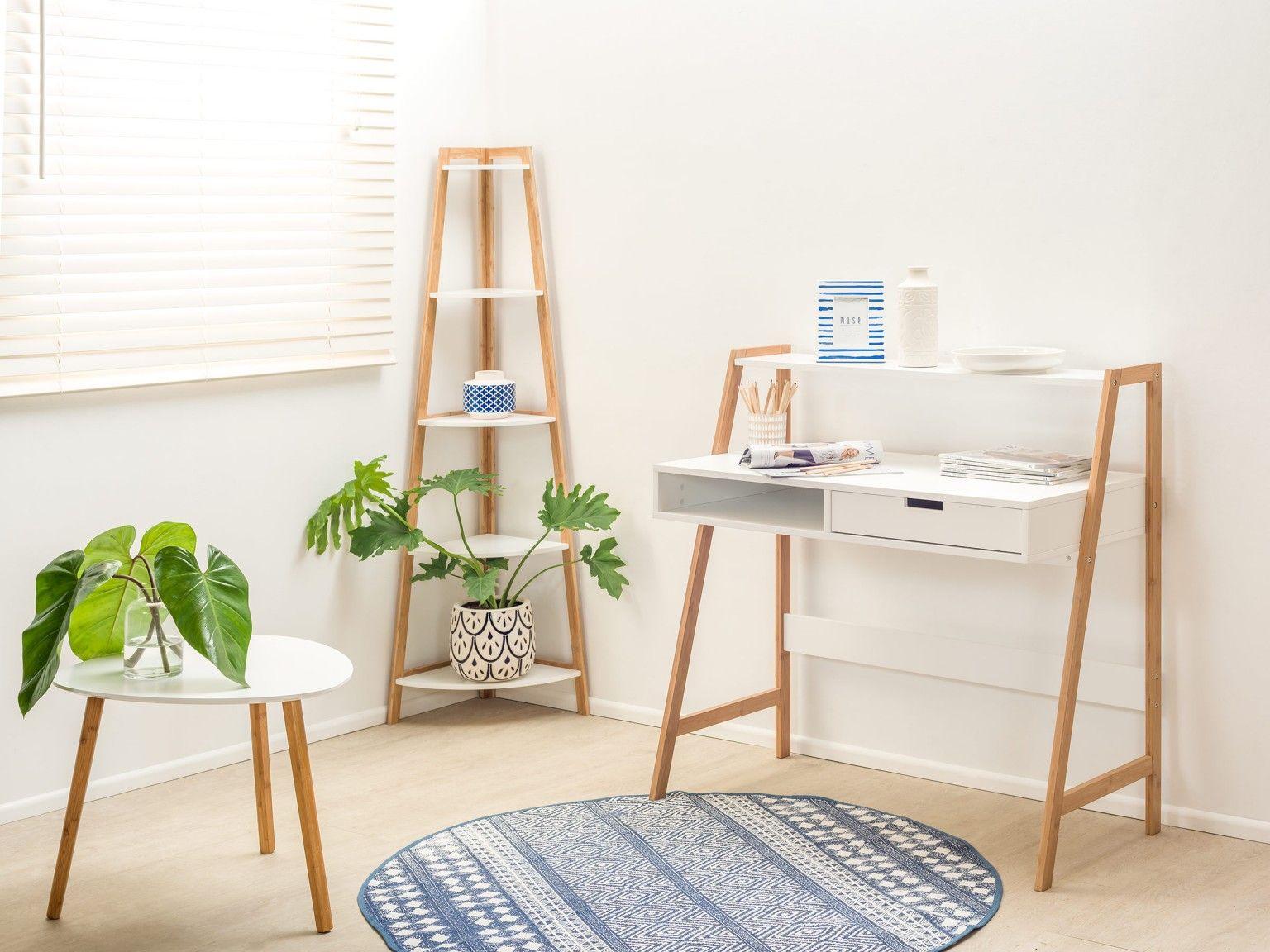Mocka maya desk with maya corner shelves and maya side table home
