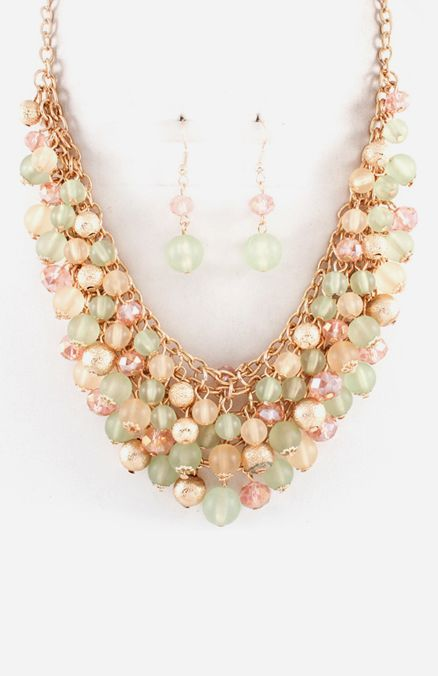 Blushing Sage Bea Cluster Necklace