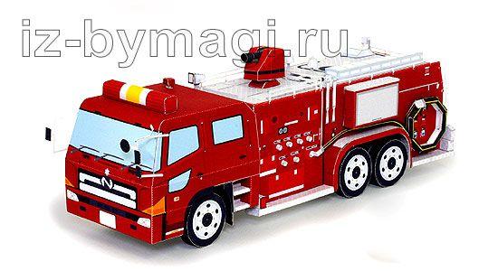 пожарная машина схема сборки из бумаги