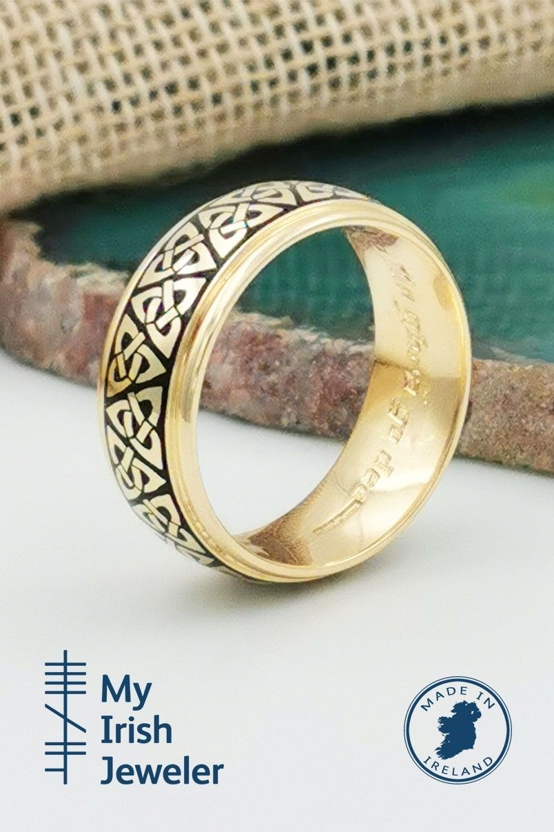 Embossed Trinity Knot Ring, Made in Ireland in 2020