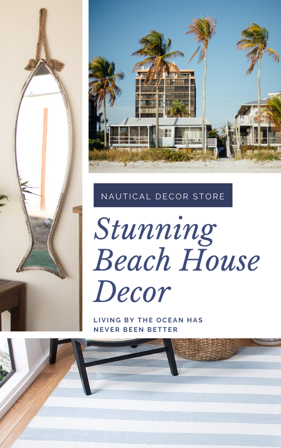 Living in a beach house has never been better! Discover stunning coastal decor for your living room, bedroom, bathroom and dining room. We have striped rugs, fish shaped mirrors, throw cushions, coffee tables and more. #beachhouse #coastaldecor #nauticaldecor