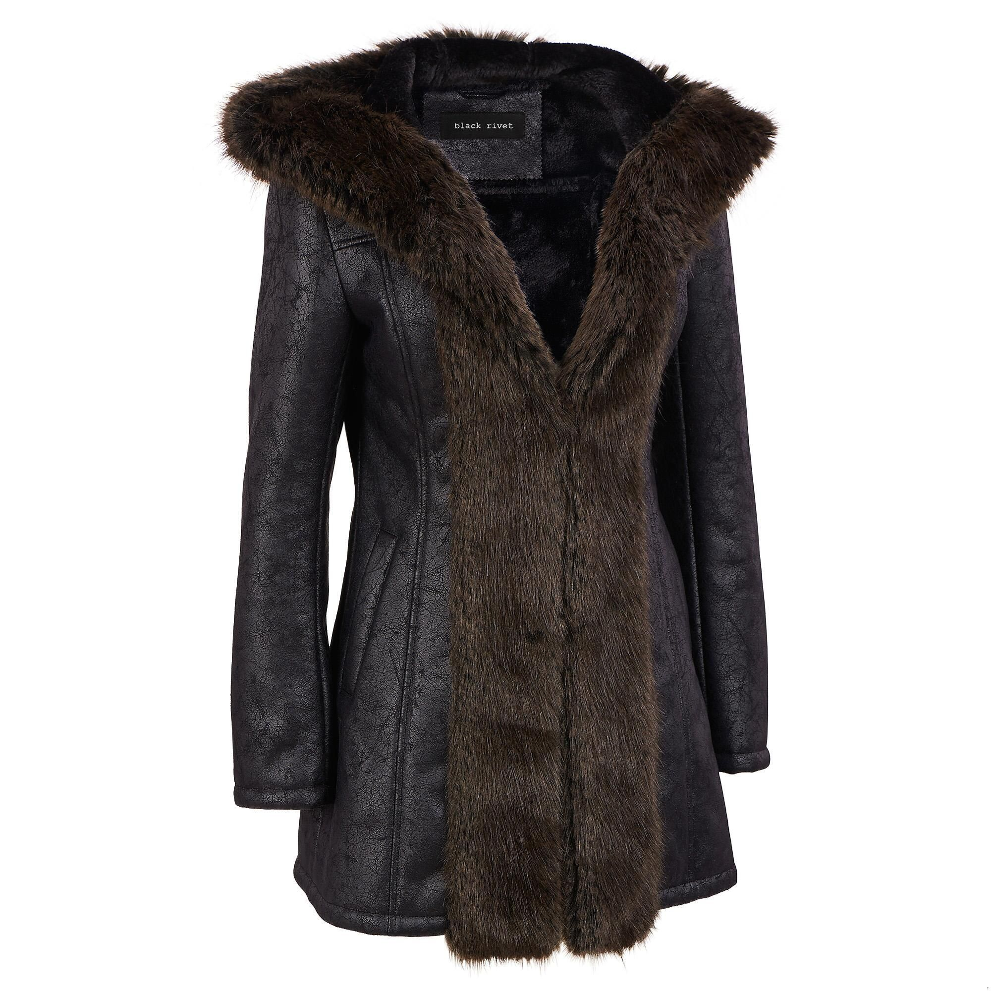 Black Rivet Hooded Distressed FauxLeather Coat w/FauxFur