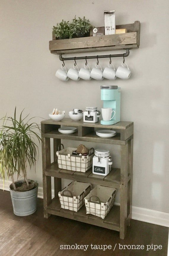 Industrial Coffee Bar Combination / Coffee Bar / Coffee Station / Coffee Bar Table / Coffee Storage/ Purchase Pair and Save!
