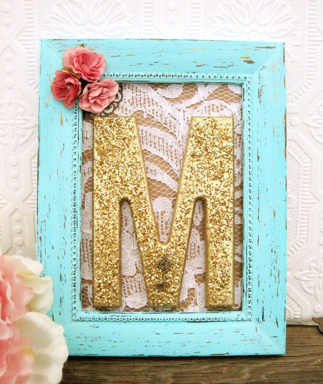 Shabby Chic Nursery Decor, Framed Letters, Baby Girl Nursery ...