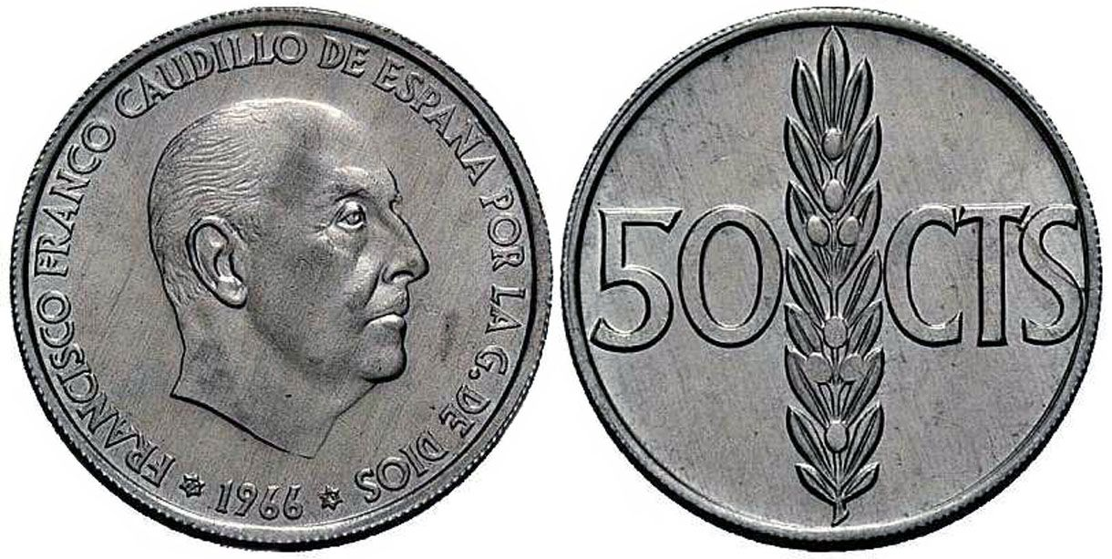 Monedas Antiguas De España 50 Céntimos 1966 Conocida Como 2 Reales Monedas Moneda Española Sellos