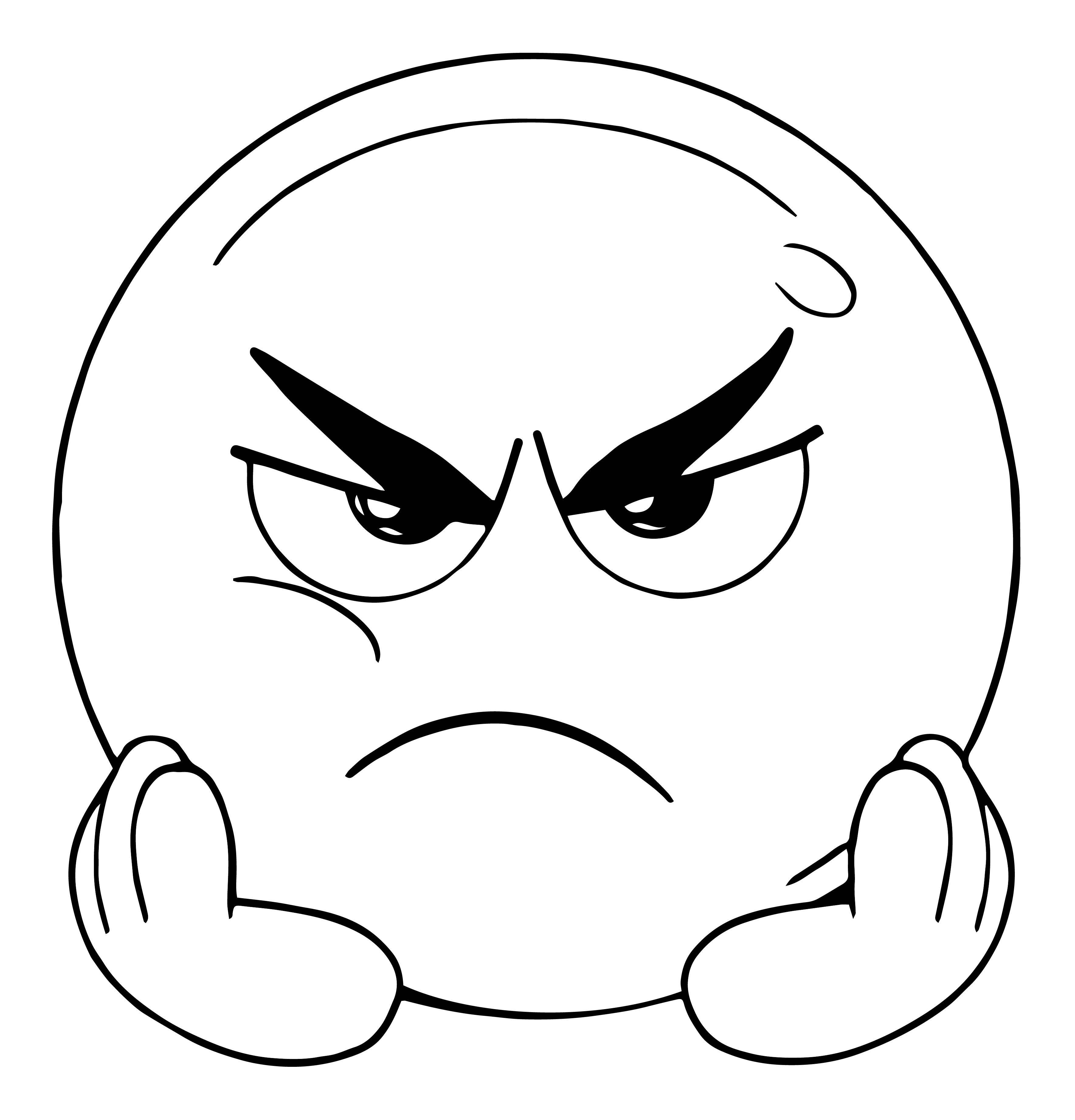 Angry And Boring Face Emoticon Coloring Page Boyama Sayfalari