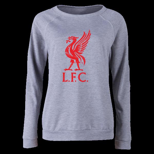Liverpool Liver Bird Distressed Women s Crewneck Fleece (Gray ... 61cab360e0