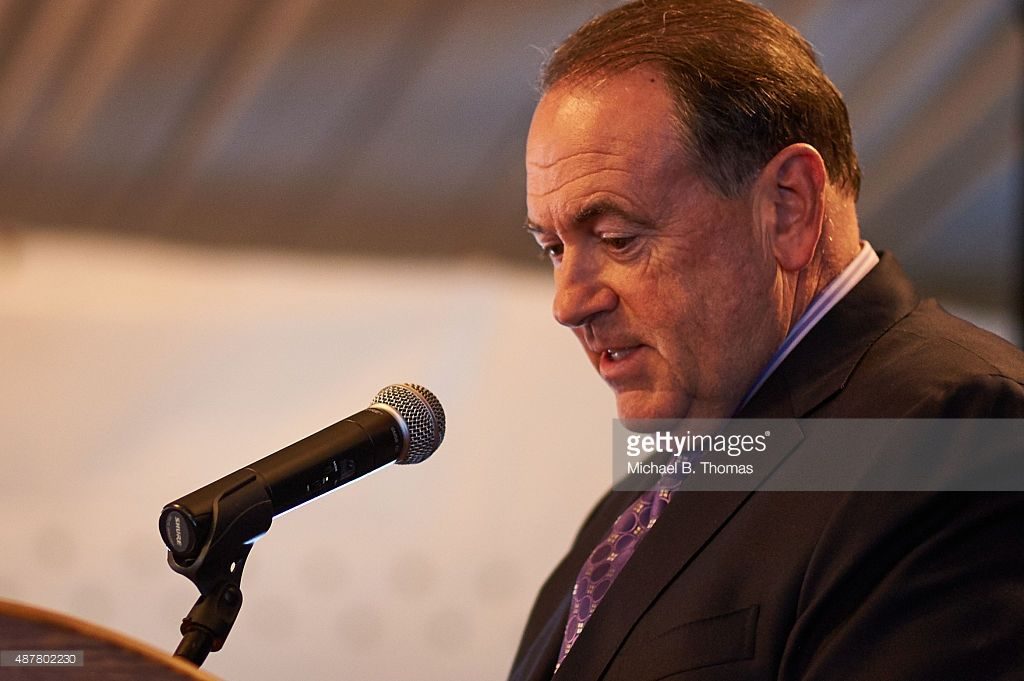 Republican Presidential Nominee Governor Mike Huckabee (R-ARK) speaks to the crowd during the Eagle Forum's Eagle Council Event at the Marriott St. Louis Airport Hotel in St. Louis, Missouri on September 11, 2015. A number of Republican Presidential Nominees will address the crowd over the next two days to express their views on the status of America.