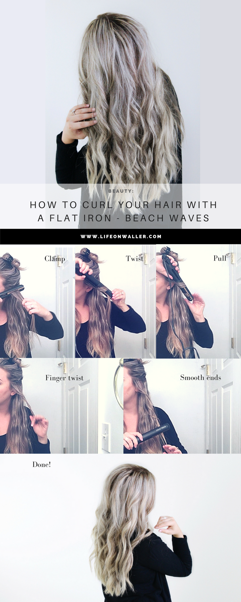 How To Curl Your Hair With A Flat Iron Beach Waves Cassie Scroggins Curls For Long Hair Flat Iron Hair Styles Curly Hair Styles