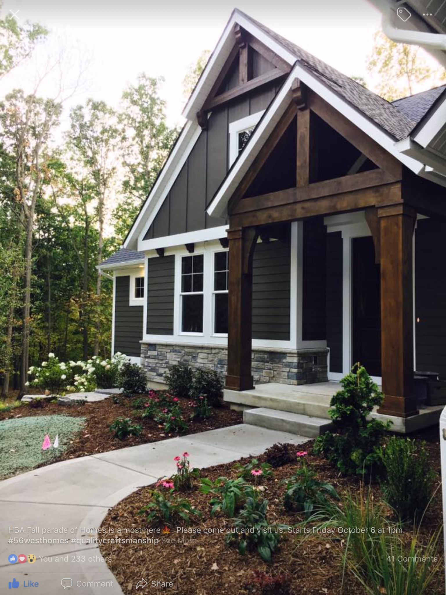 56 West - Love the house color, siding, exterior, wood detail and the color of the wood #ExteriorHouseRenovation #greyexteriorhousecolors