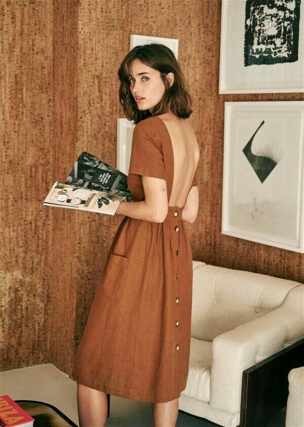 Simple Boho Style Midi Dress