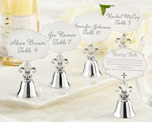 Fleur De Lis Kissing Bell Place Card Photo Holder Set Of