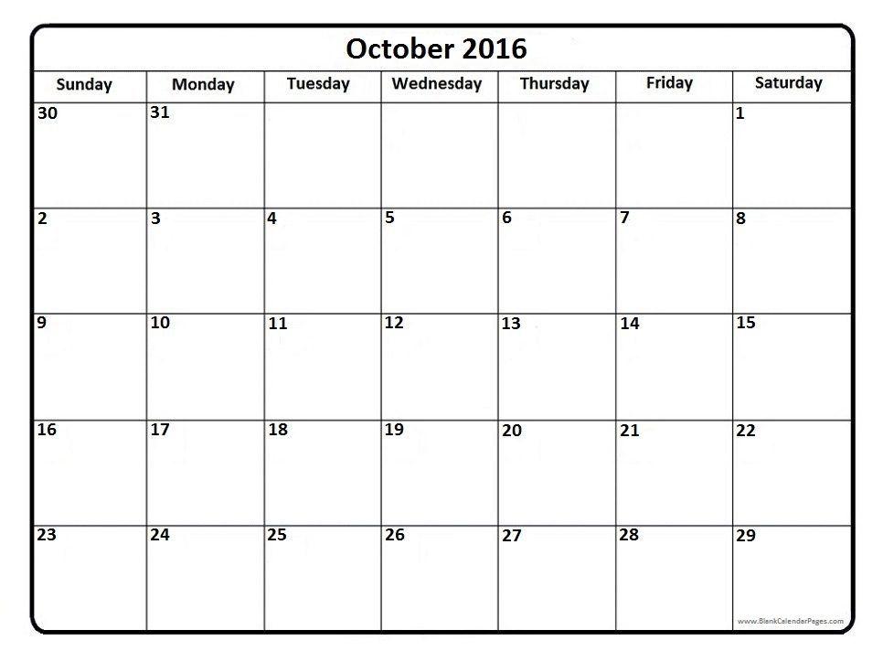 October 2016 printable calendar page c a l e n d a r Pinterest