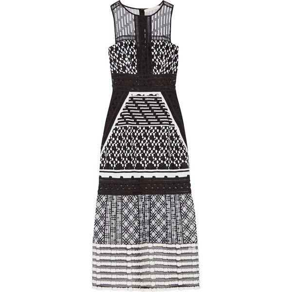 Jonathan Simkhai Pointelle-trimmed embroidered organza midi dress (€645) ❤  liked on
