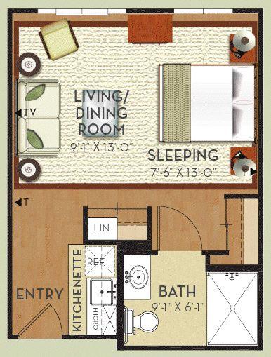 Senior Living Floor Plans Oceanview Senior Living Studio Apartment Plan Floor Plans Apartment Floor Plan