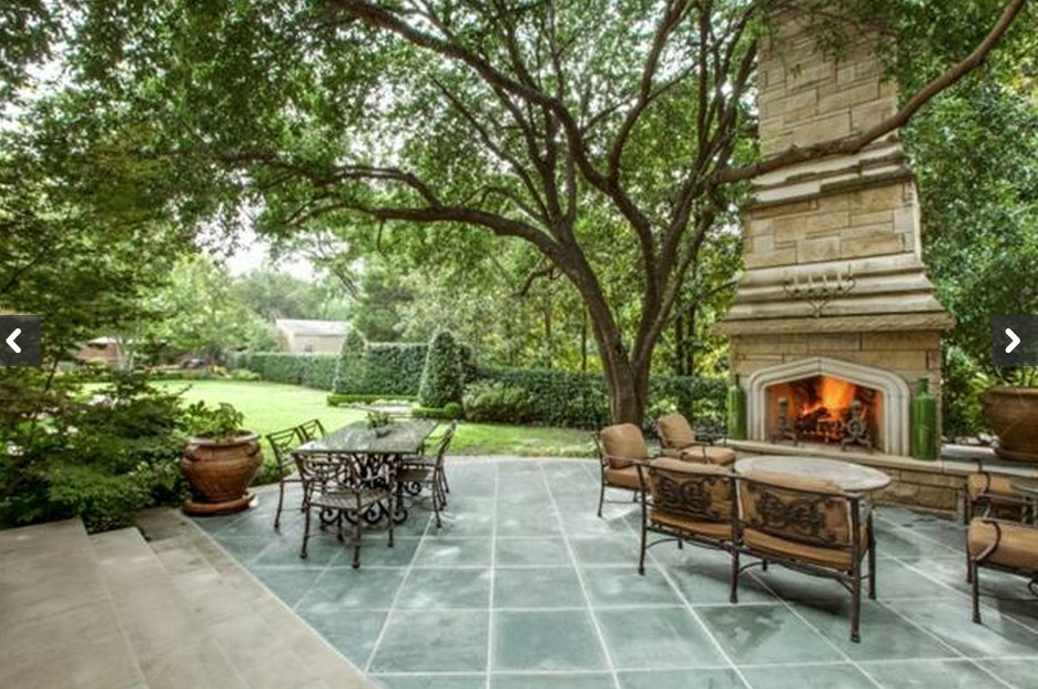 terrace with fireplace