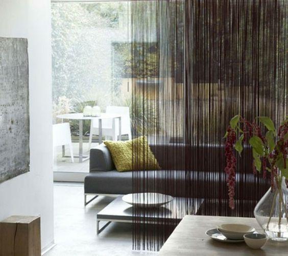ideen sofa wohnzimmer luxus perlenvorhang raumteiler Fashion