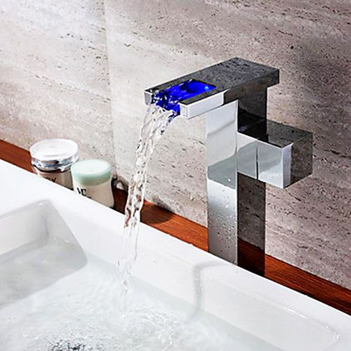 Modern Fashion Led Single Hole Tall Basin Mixer Tap Faucet In