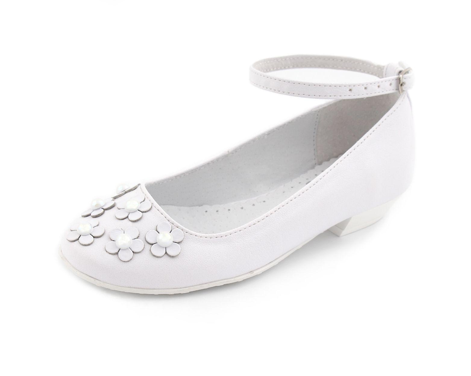 Buty Komunijne Dla Dziewczynki Z Kwiatuszkami I Perelkami Shoes Fashion Flats