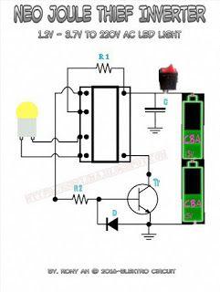 Neo Joule Thief Inverter 1 5v To 220v Ac Led Light Skema Circuit Rangkaian Elektronik Teknologi Elektronik