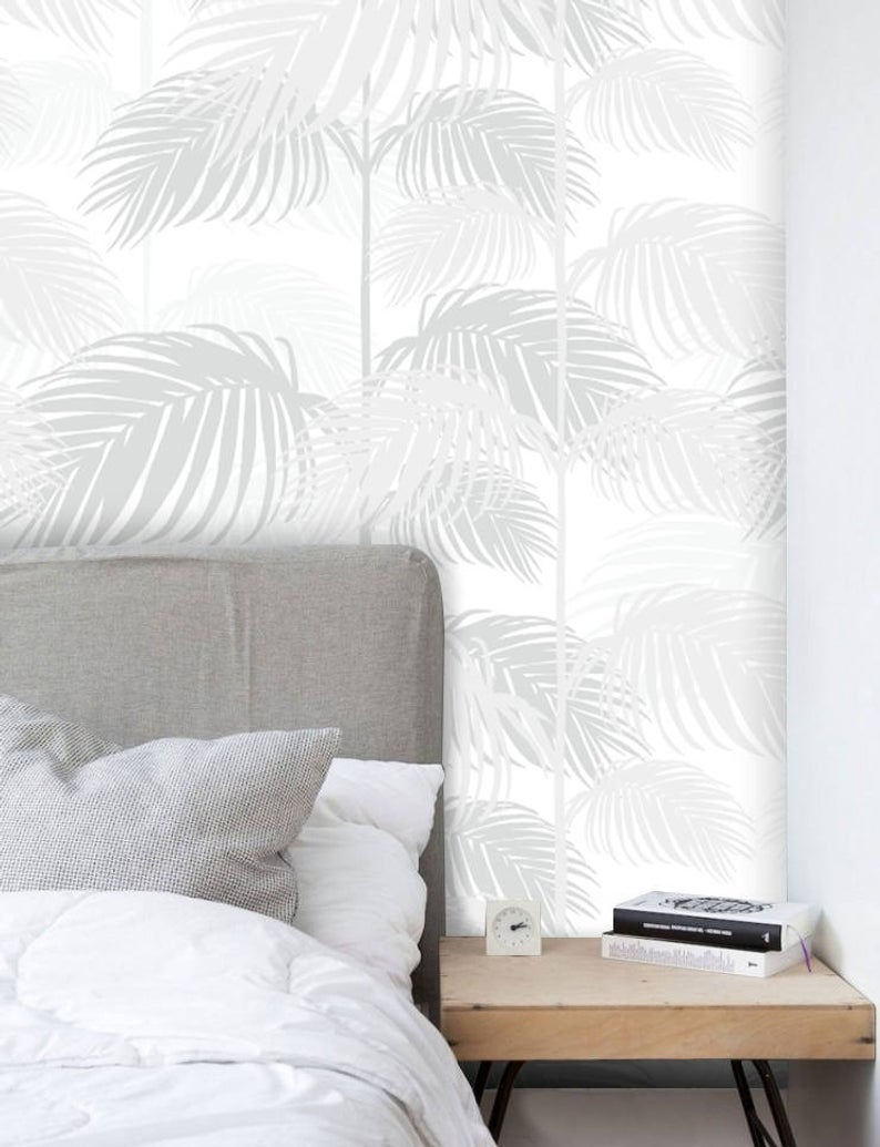 Removable Wallpaper Peel And Stick Wallpaper Palm Tree Etsy Grey Wallpaper Removable Wallpaper Palm Trees Wallpaper