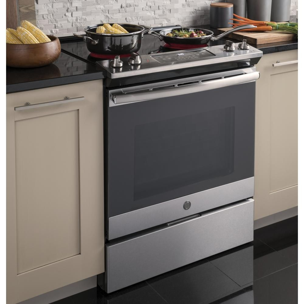 Ge 30 In 5 3 Cu Ft Slide In Electric Range With Self Cleaning Oven In Stainless Steel Js645slss The Home Self Cleaning Ovens Oven Cleaning Electric Range