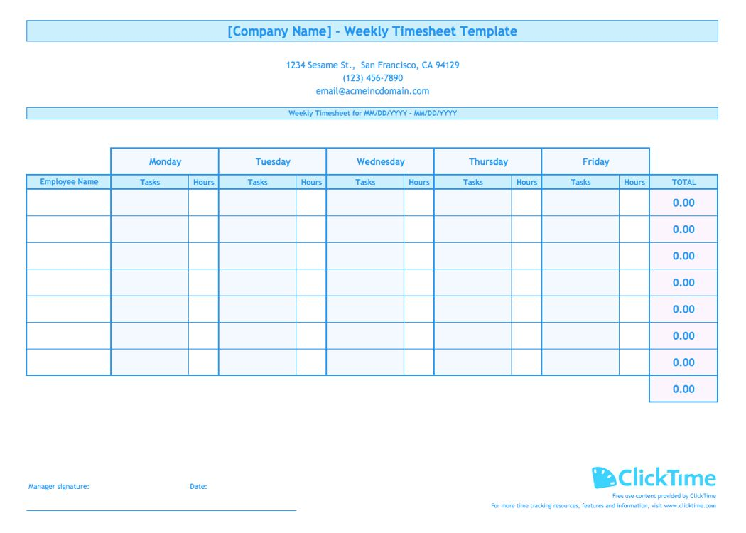 Weekly Timesheet Template For Multiple Employees Clicktime Inside Weekly Time Card Template Free Timesheet Template Time Card Template Card Templates Free Excel timesheet template multiple employees