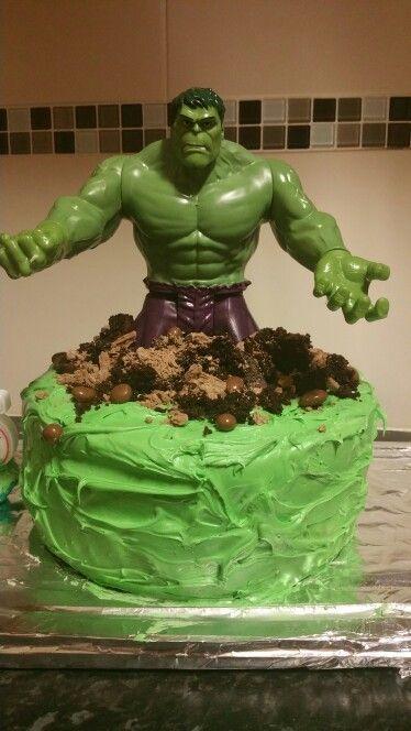 My version of the Hulk cake Cakes for Boys Pinterest Hulk