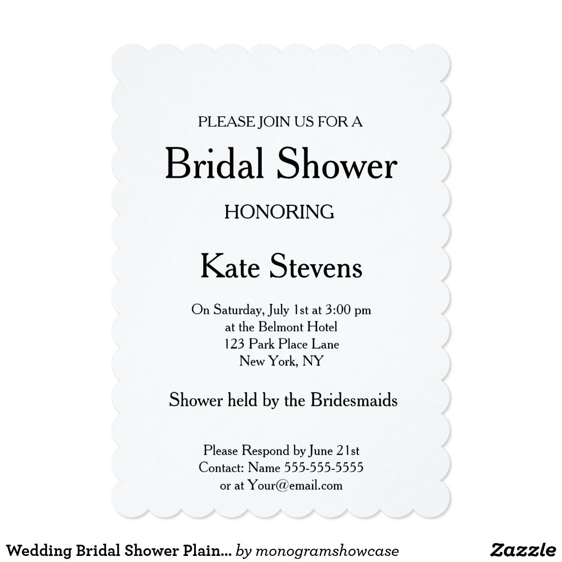 wedding bridal shower plain invitation card wedding invitations