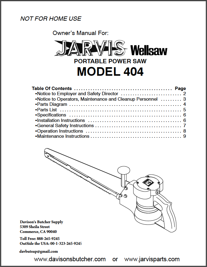 Jarvis Wellsaw Model 404 Parts List Table Of Contents Page List