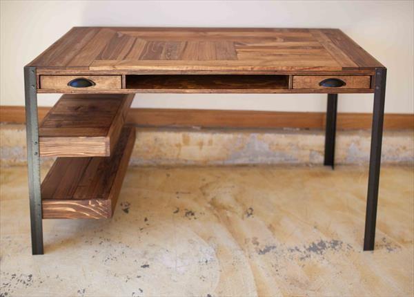 Recycled Pallet Office Desk Escritorio De Madera Pales De Madera Madera Y Metal