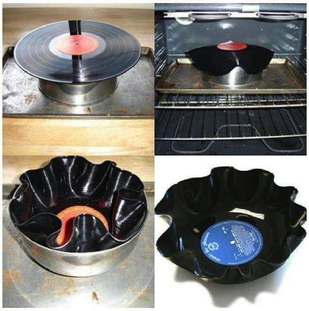Vintage Artesanías Con Discos Manualidades Recicladas Artesanías De Discos De Vinilo