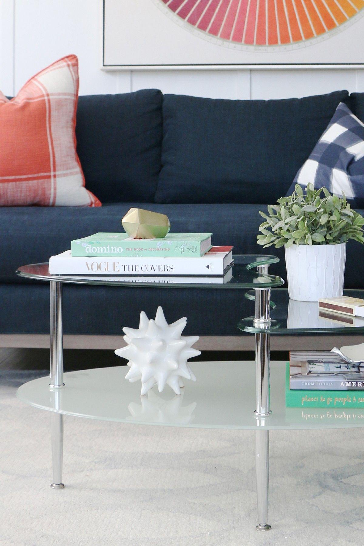 Walker Edison Furniture Company Silver Glass Oval Living Room Metal Coffee Table Living Room Accent Tables Modern Glass Coffee Table Living Room Table #oval #living #room #tables