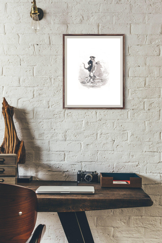 Cat drawing cat wall art print vintage cat print u antique cat