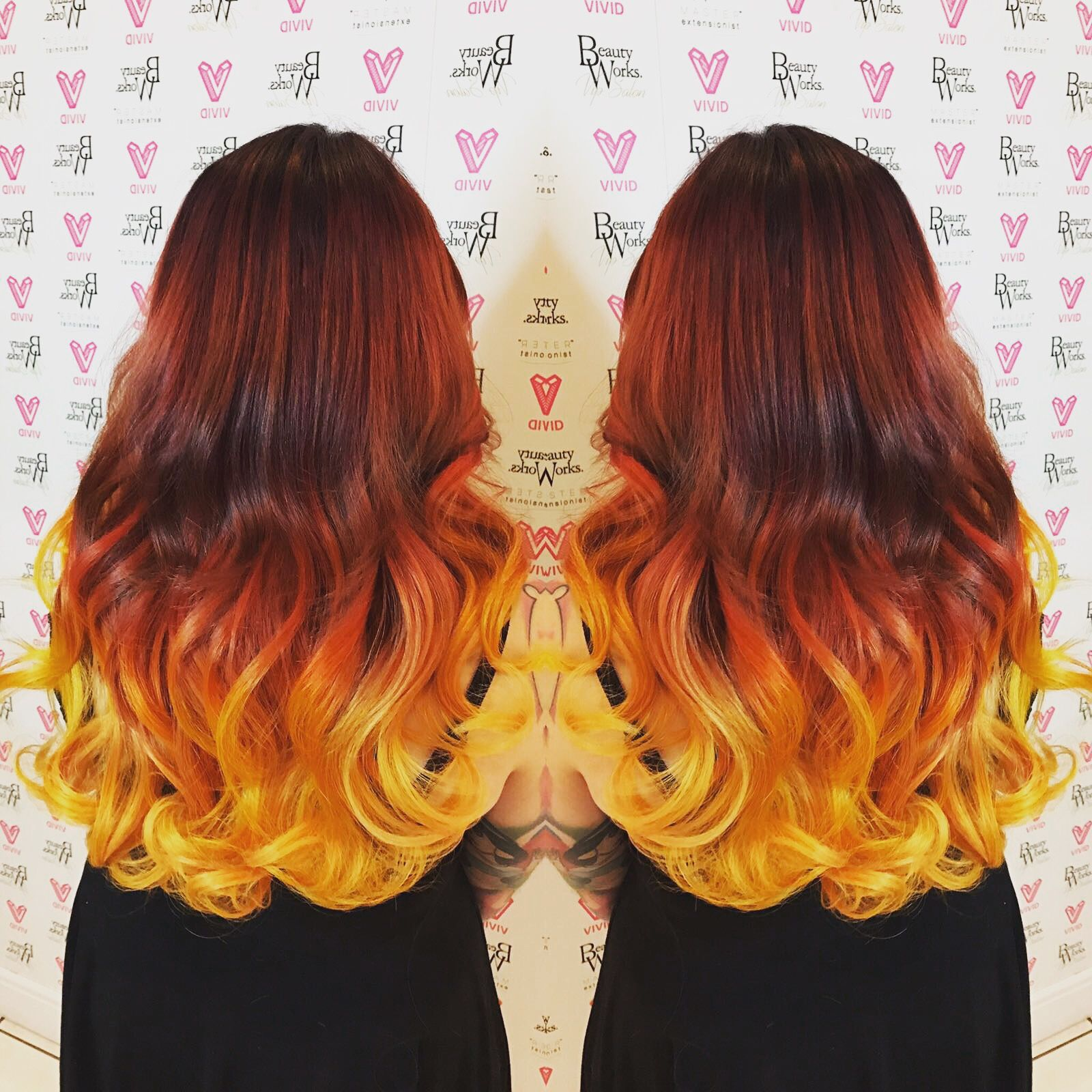 Hot Fire Red Hair Balayage Flame Colour Yellow