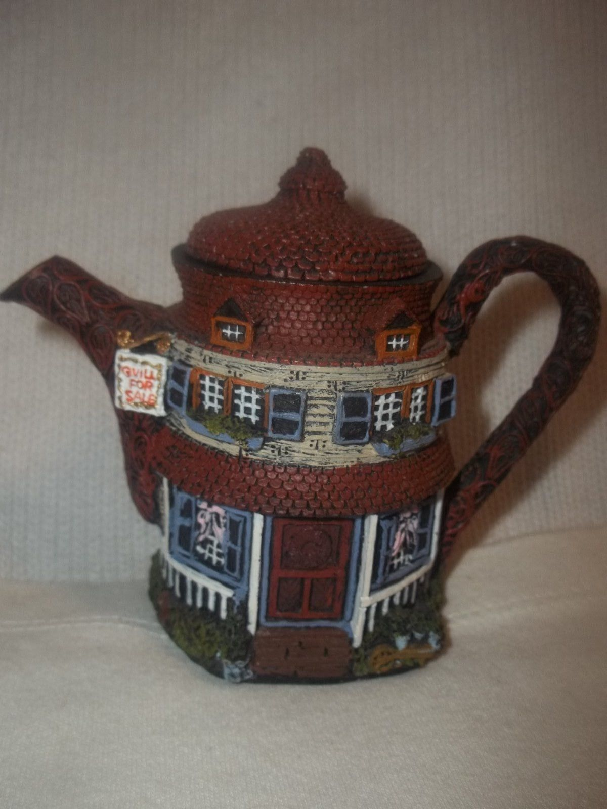 """Teapot Hometown Country Cottage """"Quill for Sale"""" Decorative Art Miniature House 
