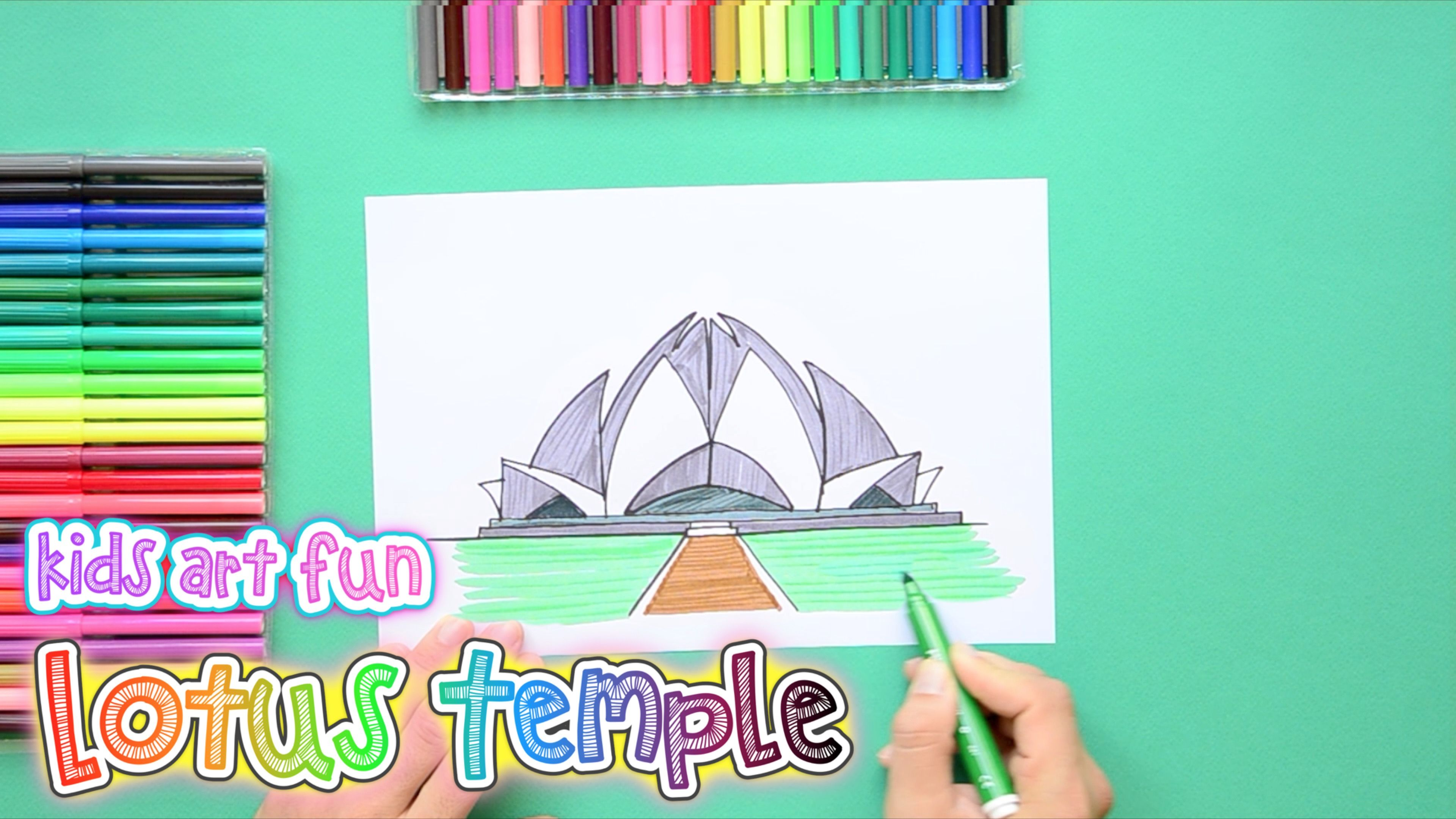 How To Draw And Color The Lotus Temple Delhi With Images