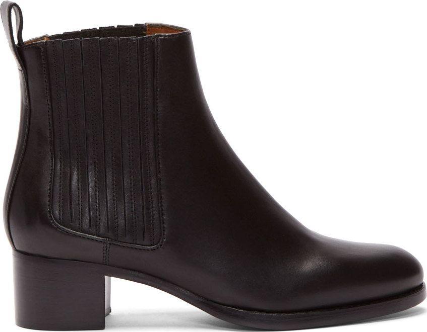 576a87b006db Veronique Branquinho Black Leather Floreto Chelsea Boots ...
