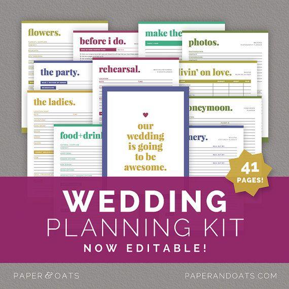 Wedding Planning Kit \u2013 Editable Wedding To Do List, Wedding Planner - Wedding Budget Excel Spreadsheet