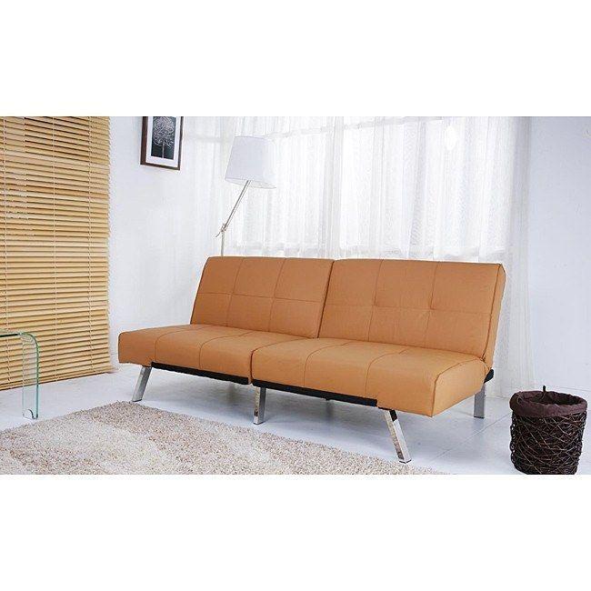 Camel Tan Leatherette Folding Split Seat Futon Sofa Bed