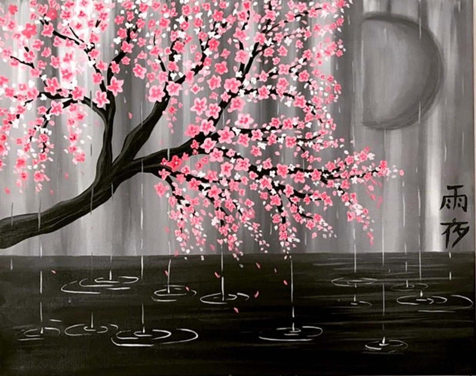 Cherry Blossom Tree Etsy Cherry Blossom Painting Cherry Blossom Art Blossom Trees