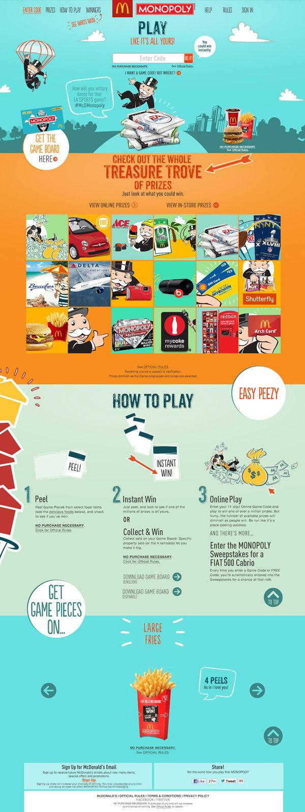 McDonald's 2013 Online Monopoly Game on Web Design
