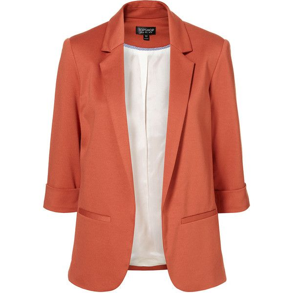 Rust Ponte Blazer (750 ARS) ❤ liked on Polyvore featuring outerwear, jackets, blazers, tops, casacos, women, ponte blazer, ponte knit jacket, ponte knit blazer e three quarter sleeve blazer
