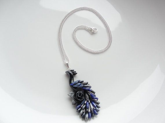 Peacock necklace handmade from polymer clay in by fizzyclaret